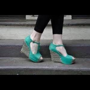 JEFFREY CAMPBELL Fox Tick Green Platform Shoes 9M
